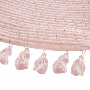 Kruhový ružový koberec Lurex
